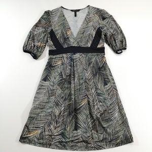 BCBGMaxazria Navy Fern Print Swing Dress Size XS